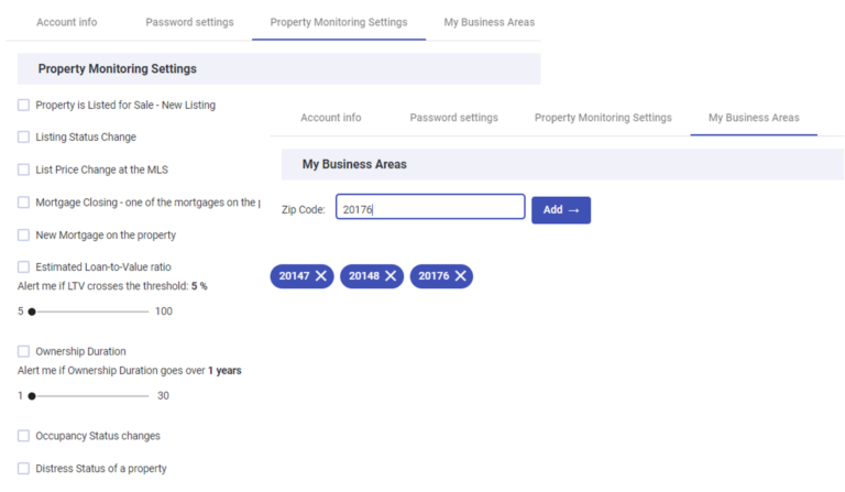 prospektr property monitoring settings